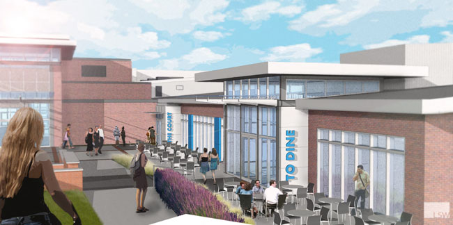 A proposed new facility will offer outdoor dining, an open-kitchen design, modern food-court kiosks and ethnic food choices.
