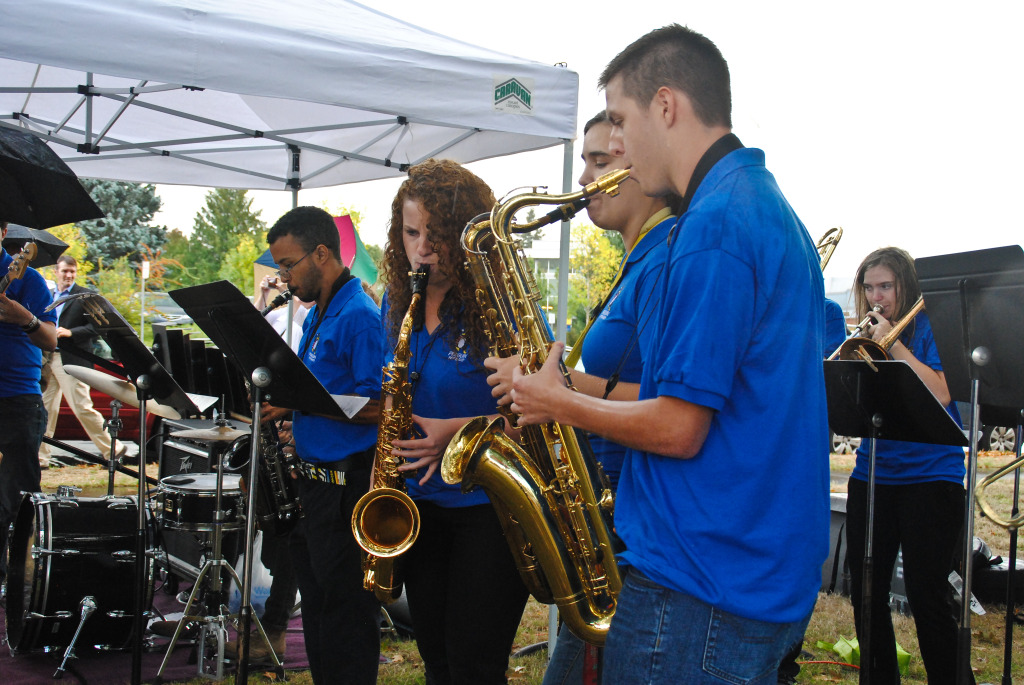 Clark's Pep Band entertained the guests with Pharrell Williams' Happy song.