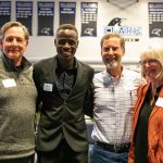 Student leader Evans Kaame, of Kenya, with scholarship donors at Clark College.