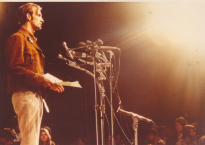 Denis Hayes speaking at the ellipse on the National Mall in Washington, D.C. in 1970.